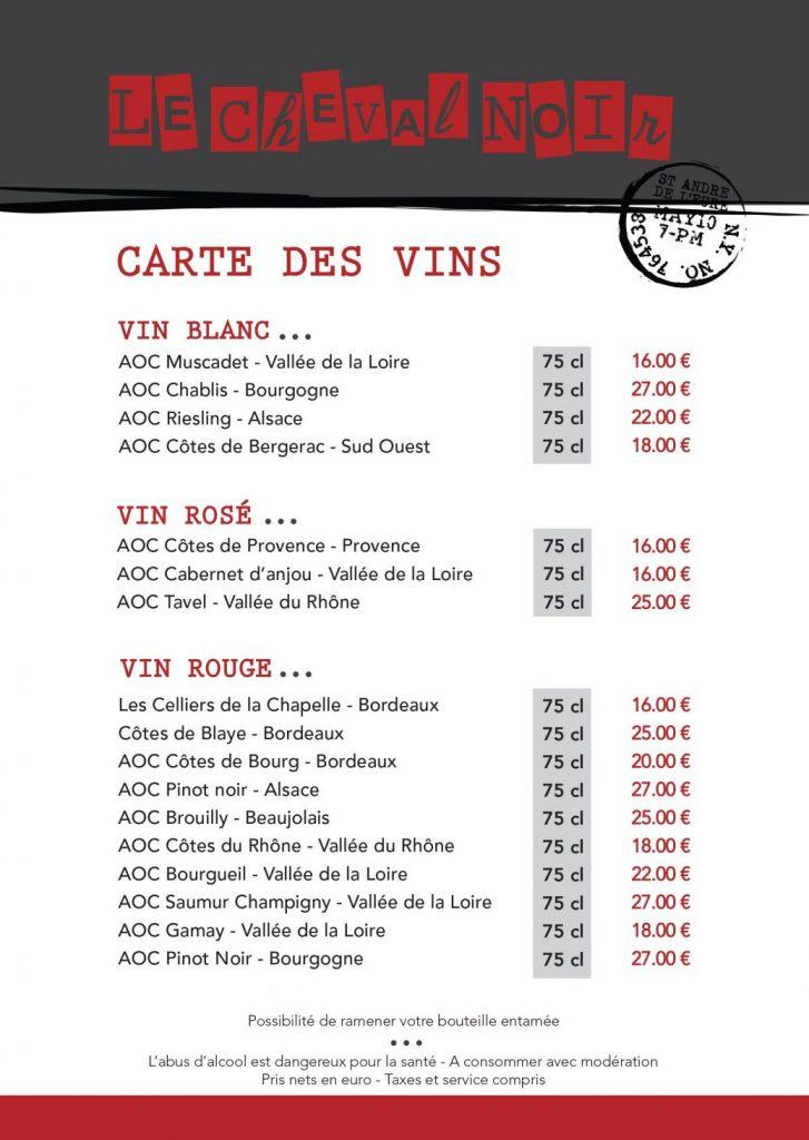 CARTE DES VINS 1